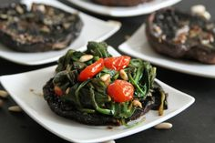 Balsamic Portobellos with Wilted Spinach Recipe