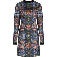 Rachel McMillan - Digital Ink Longsleeve Dress (£130) ❤ liked on Polyvore featuring dresses, long sleeve print dress, print dress, long sleeve pattern dress, mixed print dress and long sleeve dress