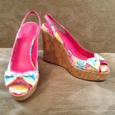 Coach Wedges Colorful Coach wedges so comfy. Like new Coach Shoes