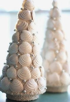Sand covered seashell cone Christmas tree.: