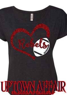 School Football Glitter Heart Shirt