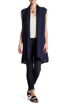 Image of JOSEPH A Solid Open Front Sweater Vest