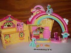 2007 My Little Pony Ponyville Rainbow Dash's House Minty Pinkie Cheerilee Hasbro #Hasbro