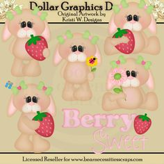 Berry Sweet Bunnies Clip Art Collection - *DGD Exclusive* by Kristi W. Designs - $1.00 - Great for printable crafts, scrapbooking, web graphics, embroidery patterns, and more! www.DollarGraphicsDepot.com