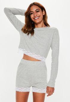 9abc3d9456c96 Ensemble pyjama gris à dentelle top et short | Missguided #pyjama #femme  #homewear. missguided.co.uk