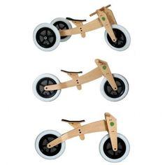 Laufrad, das mitwächst! Cooles 3-in-1 Laufrad und Dreirad, verwendbar von 1 bis 5 Jahren, natur