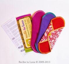 Toallitas femeninas ecológicas / Recibe tu luna / Kit de protectores diarios