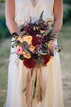 Fall bouquet of deep red, purple and yellow ~ we ❤ this! moncheribridals.com