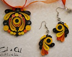 Brown color paper quilled eco-friendly earring and by EchOchCrafts