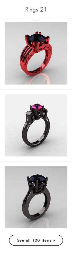 """Rings 21"" by ashley-hammond ❤ liked on Polyvore featuring jewelry, rings, accessories, pink gold rings, black diamond solitaire, red jewelry, rose gold jewelry, black gold pink diamond ring, jewelry-ring and wedding"