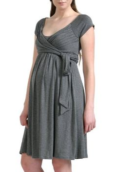 Momo Maternity Women's 'Gabby' Jersey Wrap Dress in Grey, black or red.