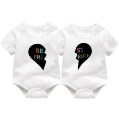7dade2ea6765 Best Friend Shared Heart Set Of Short Sleeved White Cotton Onesies #twins  #baby #