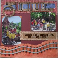 Big Thunder Mountain Railroad by Mortola Disney Scrapbook Pages, Scrapbook Page Layouts, Travel Scrapbook, Scrapbook Paper Crafts, Scrapbook Albums, Scrapbooking Ideas, Disney Mouse, Disney Fun, Disney Style