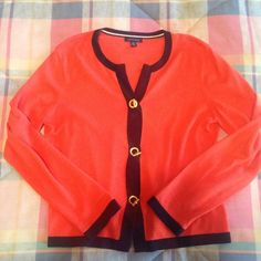 """Tommy Hilfiger Nautical toggle cardigan size Large Nautical cardigan by Tommy Hilfiger size Large. Orange with blue trim and three gold toggle closures emblazoned with """"T"""" and """"H"""" logo, TH logo also seen on bottom of left sleeve. Best fits top sizes 8/10 Tommy Hilfiger Sweaters Cardigans"""