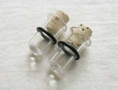 Clear Test Tube Plugs 00g inch gauged ear plugs earrings for stretched piercings made to order