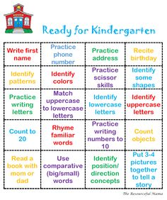Ready for Kindergarten Bingo This is an easy printable to put into a Getting Ready for Kindergarten Packet that you can share in your kindergarten round up materials or what you send home over summer to welcome your newbies. Ready for Kindergarten Bingo Preschool Assessment, Preschool Prep, Preschool Learning Activities, Preschool At Home, Preschool Lessons, 5 Year Old Activities, Preschool Phonics, Homeschool Preschool Curriculum, Preschool Themes By Month