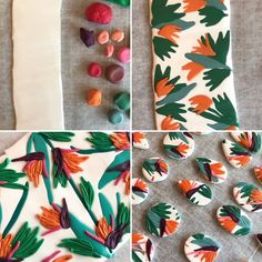 Statement earrings, polymer clay earrings in birds of paradise in green, orange, pink and white Polymer Clay Projects, Diy Clay, Polymer Clay Art, Polymer Clay Earrings, Biscuit, Clay Design, Clay Creations, Statement Earrings, Diy Earrings