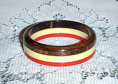 VINTAGE CHOCOLATE SUNDAE ROUNDED END+CORN & RED SLICES BAKELITE BRACELETS