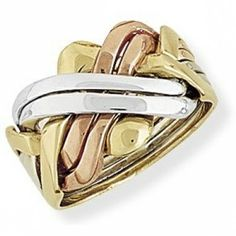 9ct White, Rose and Yellow Gold Six-Row Puzzle Ring - Size W