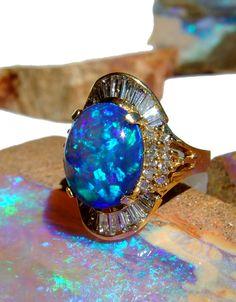 Color fashion Glam / Black Opal and Diamonds I Love Jewelry, Opal Jewelry, Jewelry Rings, Jewelry Accessories, Fine Jewelry, Jewelry Design, Jewlery, Jewelry Box, Black Opal Ring