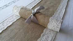 Burlap and Lace Table Runner 5 pcs  #burlap and lace runner, #burlap and lace, #rustic wedding