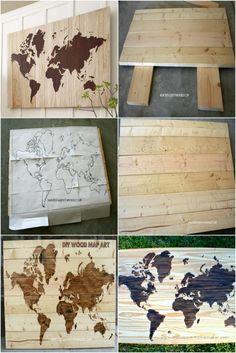 DIY Wooden World Map Art, whoa so cool bisa buat dipasang di kamar anak/pajangan main bedroom
