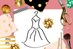 Simple Dress Coloring (Graphic) by Revidevi · Creative Fabrica Coloring Books, Coloring Pages, Digital Stamps, Gift Cards, Simple Dresses, Making Ideas, Craft Projects, How To Draw Hands, Card Making