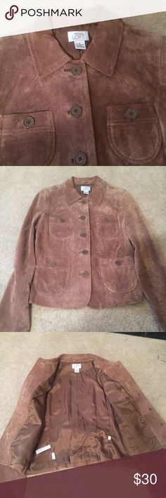 Loft Suede cargo jacket Excellent condition no damage.sz6 LOFT Jackets & Coats Utility Jackets