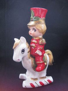 Vintage Lefton Christmas Toy Soldier on Horse Salt & Pepper Shakers | eBay