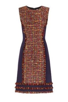 The DVF Jacey dress is a chic shift in a colorful tweed with hints of metallic thread. Pair with opaque tights and a bootie.                                                                                                                                                                                 More