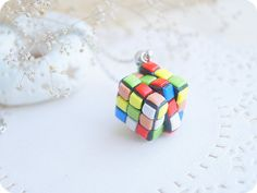 Rubik's Cube funky necklace, colorful rainbow pendant, polymerclay jewelry