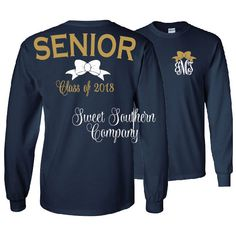 Monogrammed Senior Long Sleeve Shirt Class of Personalized Shirt