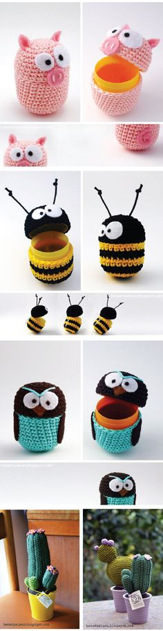 Okay, I know this is Amigurumi - but I can't knit or crochet, so I think I'd like to do them in polyclay instead. I can't knit or crochet so I'm thinking just wrap in yarn and glue. Add fixtures and wala