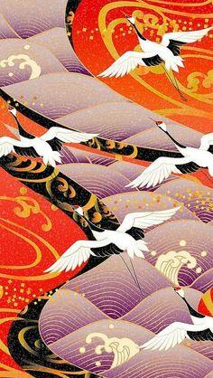 Geometric movement - The geometric lines - The flow - Art Corner Japanese Textiles, Japanese Patterns, Japanese Fabric, Japanese Prints, Japanese Design, Japanese Kimono, Japanese Geisha, Japan Illustration, Cat Wallpaper