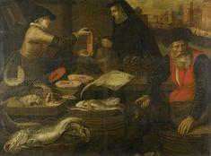Jacob van Nieulandt | Fishmongers, Jacob van Nieulandt, 1617 | Visverkopers. Een visstal waar een jonge vrouw een moot zalm verkoopt aan een vrouw. Op de voorgrond zit een oude visboer met een kruik in de hand. Voor de stal manden met vis, op de stal liggen een krab, kreeften, een rog en meerdere zalmmoten.