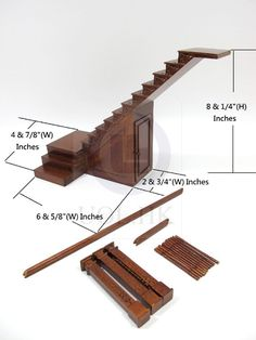 (This 1:12 scale hand carved right landing staircase made of wood finished in walnut. 1:12 Scale Miniature Hand Carved Right Landing Staircase For Doll House. 1) One staircase. Doll House Miniature Collection. | eBay!