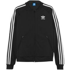 adidas Originals Superstar Track satin-jersey jacket ($79) ❤ liked on Polyvore featuring jackets, outerwear, adidas, tops, sweaters, black and adidas originals