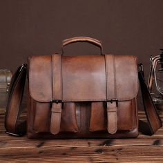 Classic Distressed Leather Natural Leather Messenger Bag Men s Tote Casual  E  fashion  clothing   · Crossbody Shoulder ... 51a581e549