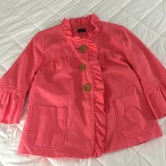 J.Crew Coral Ruffled Jacket J.Crew Coral Jacket w/ Ruffles and Big Buttons - Super adorable and perfect for Spring and Summer! Excellent condition looks brand new! Size 8 J. Crew Jackets & Coats