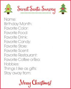 My Secret Santa Survey Printable will help you pick the perfect gift!  via createcraftlove.com