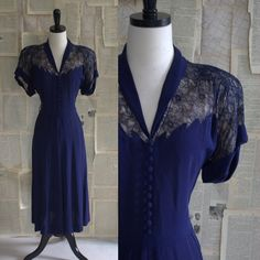 Gorgeous 1940s Navy Illusion Lace Cocktail Dress $98.00... I LOVE THIS