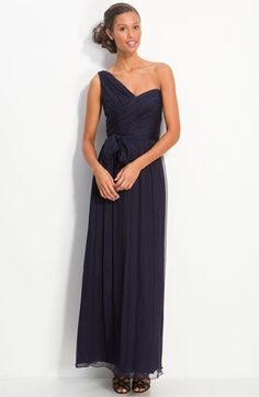 Amsale Ruched One Shoulder Chiffon Gown