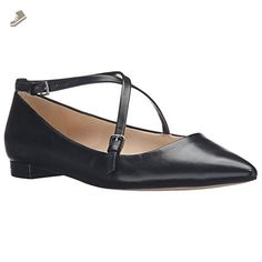 Nine West Women's Anastagia Leather Pointed Toe Flat, Black, 10 M US - Nine west flats for women (*Amazon Partner-Link)