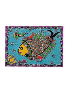 Buy Multicolor Fish Madhubani Painting 5.5in x 7.5in Poster Color Handmade Paper Art Decorative Online at Jaypore.com Fabric Painting, Painting Art, Hand Painted Fabric, Madhubani Art, Indian Folk Art, Madhubani Painting, Fish Patterns, Indian Paintings, Fish Art