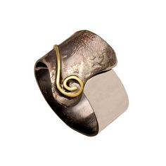 Greek silver ring with contempory design black and silver with gold detail