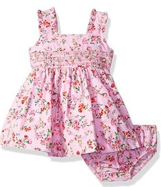 Floral printed cotton poplin dress. Smocked and embroidered bodice band. Includes coordinating panty.  A very cute baby girl dress for a fashionable baby clothes collection! Cute Baby Girl Outfits, Cute Baby Clothes, Kids Outfits, Frocks For Girls, Girls Dresses, Baby Girl Fashion, Kids Fashion, Smocked Baby Clothes, Very Cute Baby