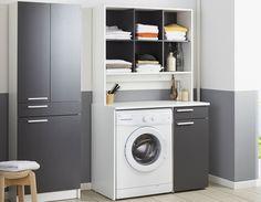 Meuble machine à laver blanc et gris AQUA