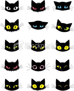 Various emotions of a cat expressed through the eyes, fur, ears and… Cat Emoticons Royalty Free Stock Vector Art Illustration Cat Vector, Vector Art, Art And Illustration, Cat Illustrations, Cat Emoticon, Black Cat Art, Black Cat Drawing, Black Kitty, Angry Cat