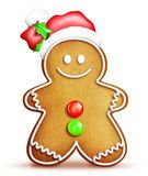 Cartoon Gingerbread Man with Santa Hat