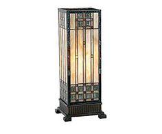 Lampada da tavolo stile Tiffany in vetro e metallo Church - H 45 cm